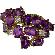 Vintage Amethyst & Diamond 14K Gold Cluster Ring