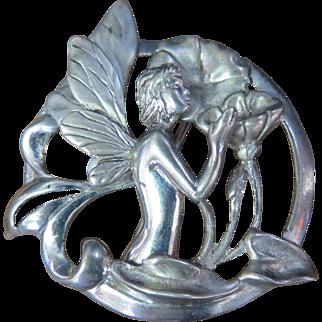 Vintage Period Art Nouveau Sterling Silver Brooch