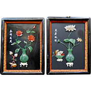 Vintage Mid 20th Century Chinese Jade & Coral Shadow Boxes (2)