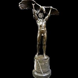 Vintage Bronze Nude w/ Eagle