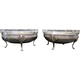 Vintage Continental Silver/Crystal Table Servers