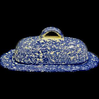 Vintage Spongeware Covered Butter Dish