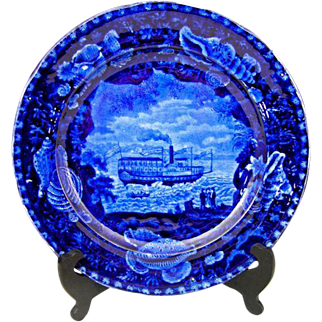 "Antique Staffordshire ""Union Line"" Historical Dark Blue Transferware Dinner Plate"