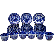 (6) Antique Staffordshire Clementson Chusan Flow Blue Ironstone China Tea Cups & Saucers