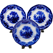 """(3) Antique Alcock Scinde Flow Blue Ironstone China 9 1/2"""" Luncheon Plates"""