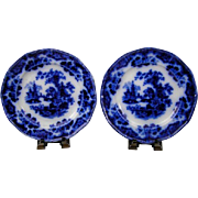 """(2) Antique Sobraon Flow Blue Ironstone China 9 3/8"""" Luncheon Plates"""