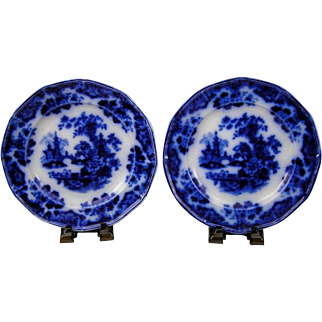 "(2) Antique Sobraon Flow Blue Ironstone China 9 3/8"" Luncheon Plates"