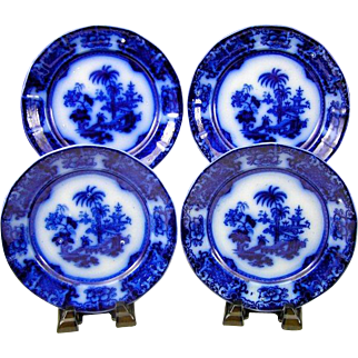 "(4) Antique T & R Boote Shapoo Flow Blue Ironstone China 7 1/2"" Side Plates"