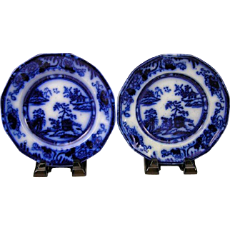 "(2) Antique C. Meigh Hong Kong Flow Blue Ironstone China 7 3/8"" Side Plates"