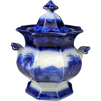 Antique Staffordshire T. Fell Excelsior Flow Blue Ironstone China Sugar Bowl