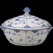 Royal Copenhagen Blue Fluted Half Lace Porcelain Covered Soup Tureen
