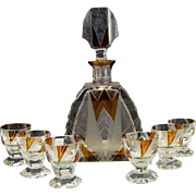 Vintage Art Deco Czech Bohemian Karl Palda Amber Crystal Glass Whiskey Decanter Bottle Set
