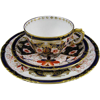 c. 1898 Antique Royal Crown Derby Floral Pattern #5683 Bone China Trio Cup & Saucer Set