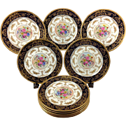 (10) Antique Limoges Ahrenfeldt Cobalt & Gold Encrusted Porcelain Cabinet Plates