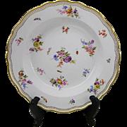 Antique Meissen Streublumen Scattered Flowers German Porcelain Soup Bowl