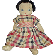 Early Japanese Stockinet Cloth Rag Doll Possibly a Bunka with Squeaker