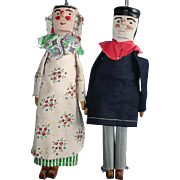 Primitive Tchantches & Nanesse Punch & Judy Type Wooden Puppet Folk Art Dolls France