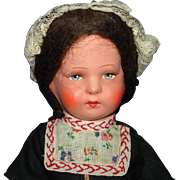 "11"" Paper Mache & Composition Dutch Girl Travel Doll"
