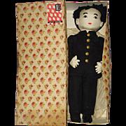 """Boxed Willy Seiler 18"""" Japanese Cloth Farmer Doll 1940s"""