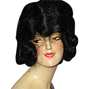 Art Deco Wax Half Doll Bust  & Bisque Arms Germany 1920s Dark Hair