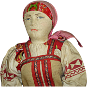 "Early 15"" SMOLENSK DISTRICT WOMAN Cloth Doll Tagged Made in Russia c1917"