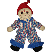 Cloth Clown Doll with Ink Drawn Face Vintage Character