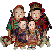Early Chinese Family Dolls Composition & Cloth China
