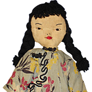 Vintage Chinese Rag Cloth Rag Doll with Embroidered Features & Flat Face