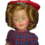 """12"""" Vinyl Shirley Temple Doll in Box & Red Purse & Script Pin 1959 Ideal"""