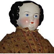 """Antique 24"""" Flat Top China Doll on Cloth Body 1860's Hairstyle Germany"""