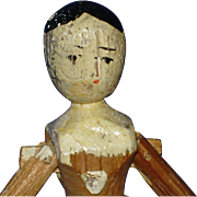 "Early & Primitive 4 1/4"" Peg Wooden Doll Grodner Tal Type Dollhouse Size!"