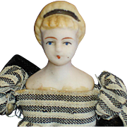 "Fancy Hairdo 3 1/2"" Untinted Bisque Doll House Doll"