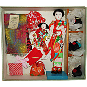 Japanese Doll with Three Wigs & Extras Japan 1950s Hanako