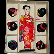 Katsuraningyo with Six Wigs Japanese Doll in Box Japan 1950s