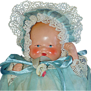 Germany Painted Bisque Baby Doll with Pacifier in Blue Organdy Gown 1937