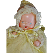Painted Bisque Baby Doll in Yellow Organdy Gown Japan 1930s