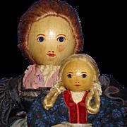 Mother & Child Wood & Cloth Dolls Austria Heimatwerk Label Vintage - Red Tag Sale Item
