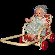 Dollhouse Celluloid Baby Doll in Wicker Stroller US Zone Germany