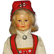 "12 1/2"" Ronnaug Petterssen Hardanger Cloth Artist Doll Norway 1950s-on"