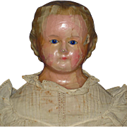 "28"" Wax Over Composition Glass Eyed Doll on Robinson Type of Body German 1860s-on"