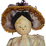 "10"" Peg Penny Wooden Doll with Two Hats Germany 1880's-on"
