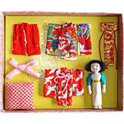 Miniature Ichimatsu Doll with Outfits Japan Vintage
