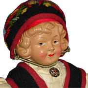 """10 1/2"""" Coquette Character Celluloid Doll in Norway Costuming Germany 1910-on"""