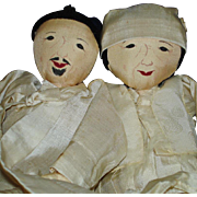 Vintage Pair of Painted Faced Korea Silk Cloth Ethnic Dolls