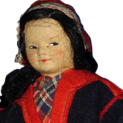 "Tagged 8"" Ronnaug Petterssen Sami Girl Cloth Doll Norway 1940s-on"