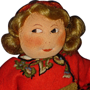 Early Round Face Ronnaug Petterssen Heddal Girl Cloth Doll 1930s