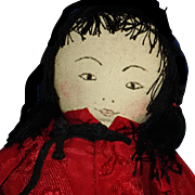 Chinese Cloth Child Doll with Ink Drawn Face & Thread Hair Kimport 1930s