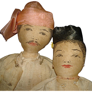 Vintage Ink Face Cloth Asian Couple Cultural Dolls