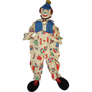 Vintage Embrodered Face Clown Cloth Pattern Doll 1940s