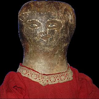 Early Painted Rag Primitive Cloth Doll Folk Art